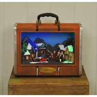 Light Up Christmas Suitcase with Festive Town Scene
