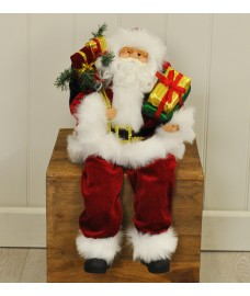 Sitting Father Christmas Santa Claus Figure Decoration Ornament by Kingfisher