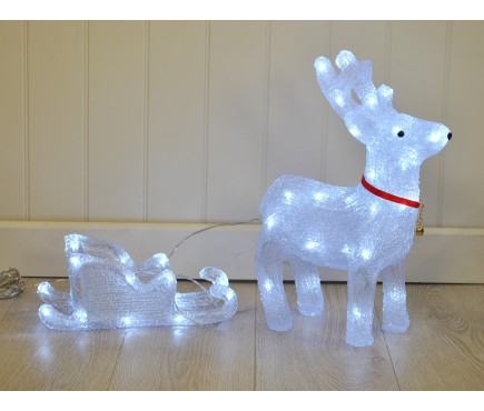 Crystal Effect Reindeer & Sleigh Christmas LED Light Decoration by Kingfisher