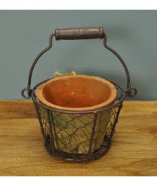 Terracotta Plant Pot with Wire Basket by Fallen Fruits