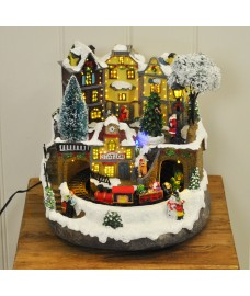 Christmas Train Scene Decoration with Sound, LED & Fibre Optic Lights by Kingfisher