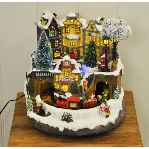 christmas train scene decoration with sound led fibre optic lights by kingfisher