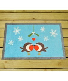 Festive Robin Christmas Washable Doormat by Gardman