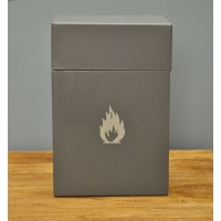 Enameled Metal Firelighter Box in Charcoal by Garden Trading