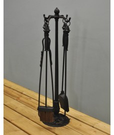 Cast Iron Fireside Set of 4 Tools with Stand by Fallen Fruits