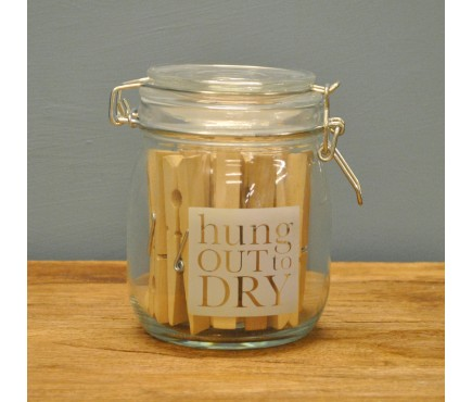 Hung Out to Dry Storage Jar with 24 Pegs by Garden Trading