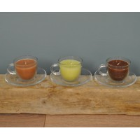 Clear Glass Teacup Scented Candle By Fallen Fruits