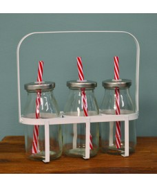 Set of 3 Vintage Retro Glass Bottle with Straw by Fallen Fruits