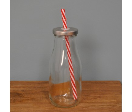 Vintage Retro Glass Bottle with Straw by Fallen Fruits