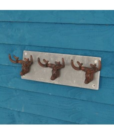 Cast Iron and Slate Stags Head with Antler Hooks by Fallen Fruits