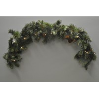 120cm Mantlepiece Pre Lit Christmas Garland with Pine Cones (Battery) by Kingfisher