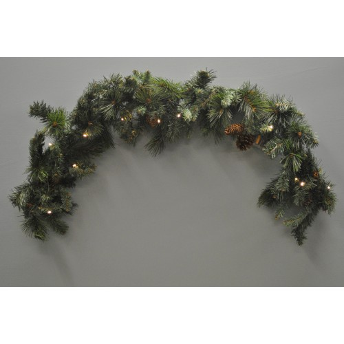 Artificial Christmas Garland.120cm Mantlepiece Pre Lit Christmas Garland With Pine Cones Battery By Kingfisher