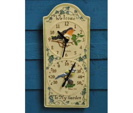 Birdberry Wall Clock & Thermometer by Smart Garden