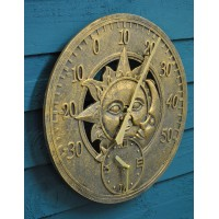 Sun And Moon Wall Clock & Thermometer by Smart Garden