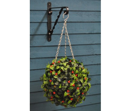 Holly Berry Artificial Topiary Ball with LED Lights (Battery) by Gardman