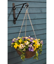 Pansy Artificial 30cm Hanging Basket by Smart Garden