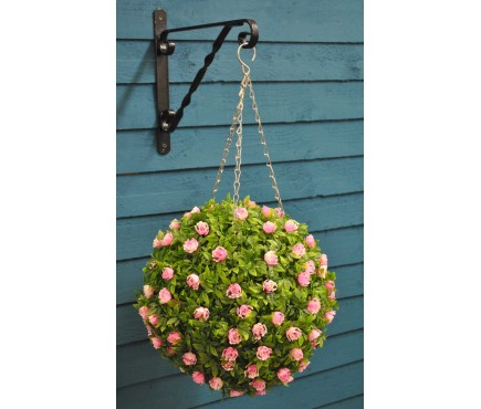 Artificial Pink Rose Flower and Leaf Effect Topiary Ball by Smart Garden
