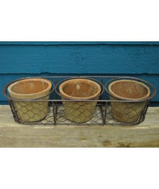 Terracotta Plant Pot & Wire Basket Set (3 Pots) by Fallen Fruits
