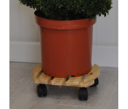Round Wooden Plant Pot Trolley Mover (30cm) by Gardman