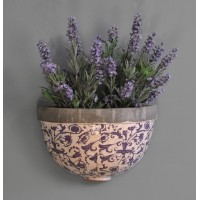 Aged Ceramic Wall Planter in Blue by Fallen Fruits