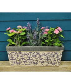 Aged Ceramic Balcony Planter in Blue by Fallen Fruits