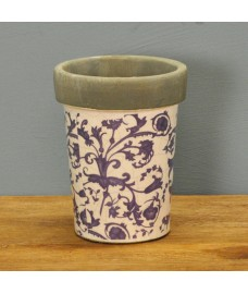 Aged Ceramic Long Tom Flower Pot in Blue by Fallen Fruits