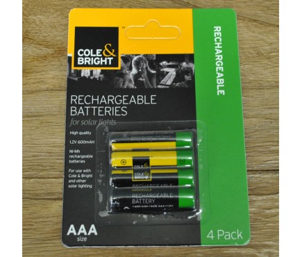 4 x AAA Rechargeable Batteries for Solar Lights by Gardman