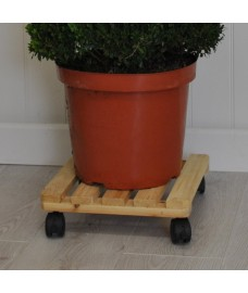 Square Wooden Plant Pot Trolley (30cm) by Gardman