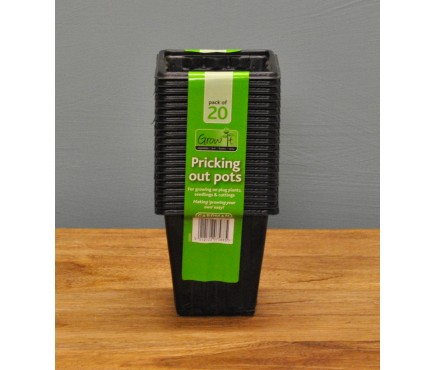 Square Plastic 8cm Pricking Out Pots (Pack of 20) by Gardman
