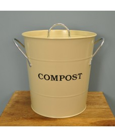 Enamel Metal Compost Caddy in String Colour by Garden Trading