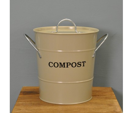 Enamel Metal Compost Caddy in Clay by Garden Trading