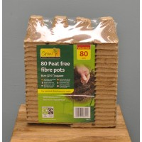 Square Fibre 6cm Plant Pots (Pack of 80) by Gardman