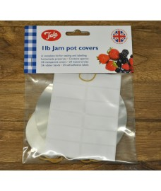 Tala 24 x 1LB Jam Jar Covers, Rubber Bands, Waxed Circles & Labels by George East