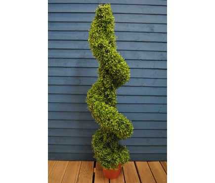 Leaf Effect Artificial Topiary Swirl Shaped Pot Plant (135cm) by Gardman