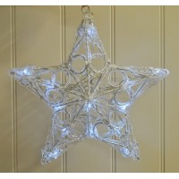 Hanging Star Light White with 20 LEDs Decoration 28cm