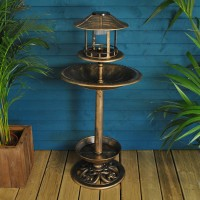 Bird Bath, Feeder & Garden Planter with Solar Light by Kingfisher