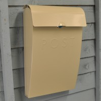 Clay Cream Metal Post Box with Lock by Garden Trading