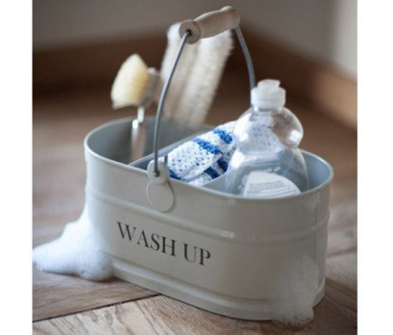 Washing Up Tidy with Wooden Handle in Chalk White by Garden Trading