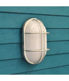 Galvanised St Ives Bulkhead Wall Light (Mains) by Garden Trading