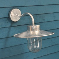 Galvanised St Ives Swan Neck Wall Light (Mains) by Garden Trading