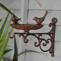 Cast Iron Bird Bath, Feeder & Hanging Basket Bracket by Fallen Fruits