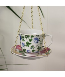 Vintage China Teacup & Saucer Bird Feeder by Fallen Fruits