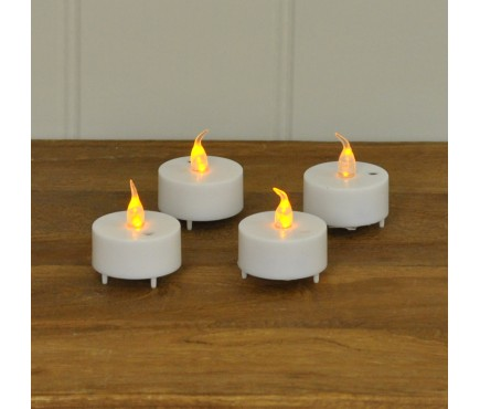 Battery Operated Flickering Tealight Candles (Pack of 4) by Kingfisher