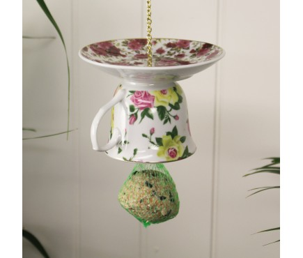 Vintage China Upside Down Teacup & Saucer Bird Feeder by Fallen Fruits