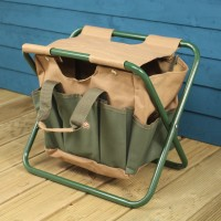 Garden Tool Storage Seat in Green & Brown by Fallen Fruits