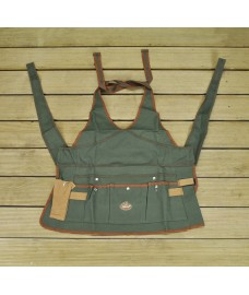 Ladies Garden Apron Tool Belt in Green & Brown