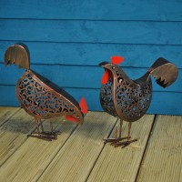 Metal Hen Ornamental Garden Solar Lights (Set of 2)