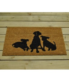 Three Black Dogs Design Coir Doormat by Gardman