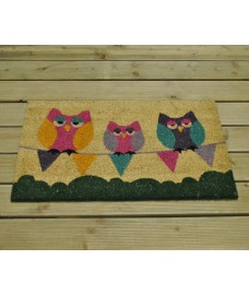 Three Sleepy Owls on Bunting Design Coir Doormat by Gardman