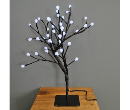 45cm White Cotton Ball Tree 40 LED (Battery) by Smart Garden